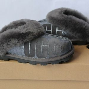 UGG Sparkle Coquette Gray Slippers Women's 10